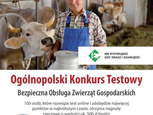 grafika do wpisu: Ogólnopolski Konkurs Testowy z Zakresu Bezpiecznej Pracy  w Gospodarstwie Rolnym